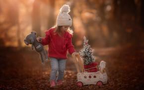 Картинка природа, игрушки, девочка