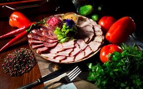 Картинка зелень, мясо, овощи, помидоры, специи, буженина