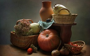 Картинка тыква, кувшин, натюрморт, овощи, корзинки