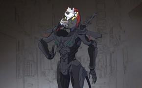 Картинка Кошка, Робот, Япония, Кот, Стиль, Japan, Fantasy, Арт, Art, Еда, Robot, Style, Фантастика, Cat, Fiction, …