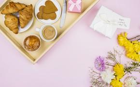 Картинка цветы, кофе, завтрак, выпечка, поднос, кекс, круассаны