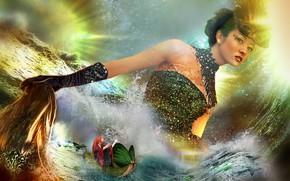 Картинка вода, девушка, бабочки, лодка