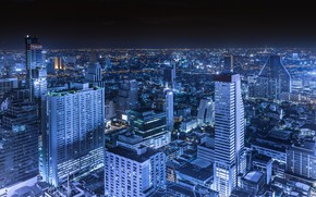 Картинка небо, ночь, город, здания, дома, панорама, Таиланд, Тайланд, Бангкок