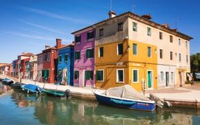 Картинка море, город, дом, лодка, окна, дома, Италия, канал, док, Italy, улицы
