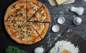 Картинка яйцо, курица, сыр, мясо, пицца, соус, выпечка, pizza, салат, мука, тесто