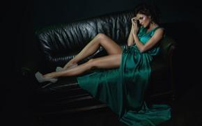 Картинка стиль, платье, прическа, туфли, украшение, зеленое, мода, фотомодель