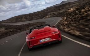 Картинка красный, 911, Porsche, Speedster, 991, корма, горб, 2019, 991.2