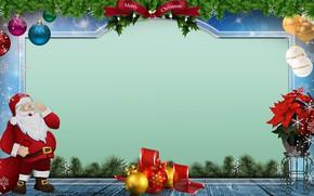 Картинка шарики, цветы, снежинки, ветки, праздник, надпись, шары, букет, Рождество, Новый год, ёлка, Санта Клаус, Дед …