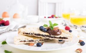Картинка шоколад, завтрак, сок, тосты