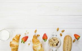 Картинка ягоды, завтрак, хлеб, йогурт