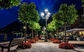 Картинка деревья, ночь, огни, Италия, Italy, лавочки, иллюминация, Ломбардия, Озеро Гарда