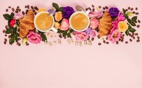Картинка цветы, надпись, кофе, чашки, композиция, Natalia Klenova