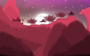 Картинка пейзаж, горы, природа, китай, япония, Восток, ночной пейзаж, полнолуние, звездное небо, красивый пейзаж, горный пейзаж, …
