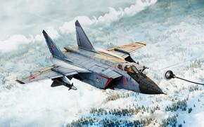 Обои Истребитель, by ABiator, Alexander Iartsev, Арт, Рисунок, ОКБ МиГ, Перехватчик, Дозаправка, Зима, MiG-31B, Foxhound, Дозаправка ...