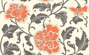 Картинка цветы, фон, узор, текстура, витаж