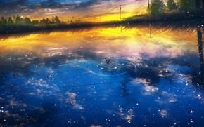 Картинка вода, закат, природа, чайка, by Y_Y