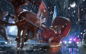 Картинка Зима, Рисунок, Снег, Полиция, Рождество, Снежинки, Фон, Новый год, Санта, Погоня, Борода, Праздник, Санта Клаус, …