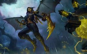 Картинка дождь, молнии, буря, маска, фэнтези, плащ, персонаж, Smite, Ah Muzen Cab