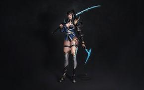 Картинка Girl, Fantasy, Art, Lightning, Style, Warrior, Minimalism, Blade, Katana, Sword, Characters, Armor, Bugeon Choi, Half …