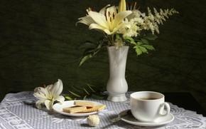 Картинка чай, лилия, печенье, конфета