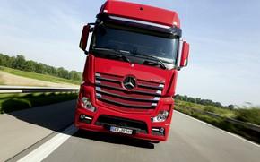 Картинка красный, Mercedes-Benz, трасса, седельный тягач, 2014, Actros