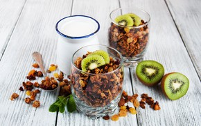 Картинка завтрак, киви, орехи, йогурт, гранола, Olena Rudo