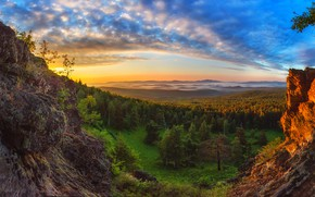 Обои colors, forest, sunset, rocks, Сагайдак Павел