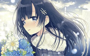 Картинка взгляд, цветы, девочка