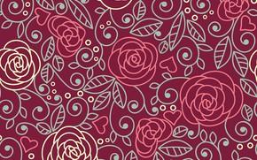 Картинка фон, узор, розы, бесшовный
