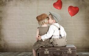Обои дети, поцелуй, мальчик, девочка, сердечки