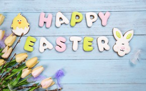 Картинка праздник, печенье, Пасха, тюльпаны