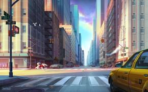 Картинка Дорога, Собака, Город, Улица, Бег, Здания, City, Dog, Такси, Нью Йорк, New York, Street, Ball, …