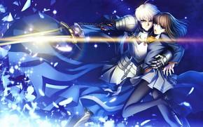 Картинка девушка, меч, парень, рыцарь, сейбер, Судьба ночь схватки, Fate / Stay Night