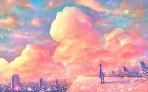 Картинка дорога, небо, девушка, закат