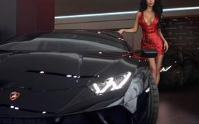 Картинка грудь, поза, модель, Девушка, Lamborghini, платье, салон, машинa, Макс Соколович