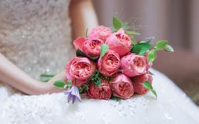 Картинка девушка, цветы, букет, невеста