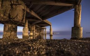Картинка ночь, мост, опоры