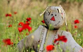 Картинка поле, лето, цветы, мак, маки, человечек, ткань, мешковина, чучело, треугольник, пугало, боке, рожица, размытый фон, …