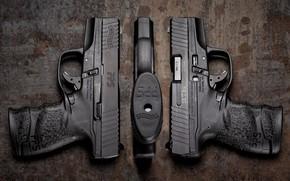 Картинка фон, пистолеты, трио, Walther PPS M2