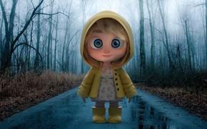 Картинка дорога, дождик, осень, арт, девочка, плащ, Rainyday, Tang Chen