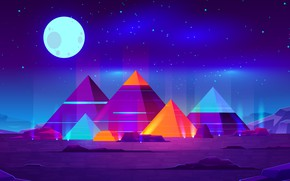 Картинка Moon, Art, Landscape, Creative, Night, Abstract Art, Pyramids