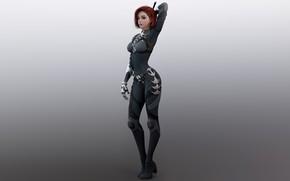 Картинка девушка, арт, рыжая, броня, armor, redhead, digital art, suit, suite, Shin JeongHo, artstation