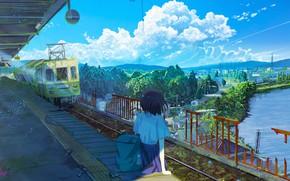 Картинка вода, девушка, поезд, дома, станция, заброшено