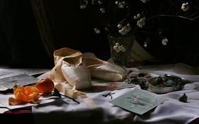 Картинка украшения, темный фон, стол, обувь, букет, натюрморт, бижутерия, предметы, балет, композиция, мандарин, пуанты, открытки, балетная
