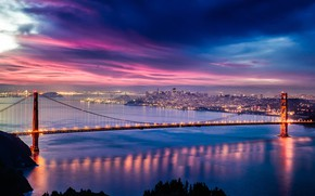 Обои city, lights, USA, Golden Gate Bridge, twilight, skyline, sky, sea, bridge, sunset, California, clouds, evening, ...