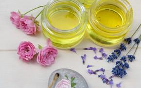 Картинка масло, розы, баночки, лаванда, спа, ароматерапия