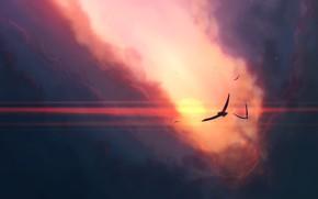 Картинка sky, sunset, art, clouds, birds, sun, artist, digital art, artwork, JoeyJazz