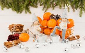 Картинка праздник, ангелы, подарки, Новый год, фигурки, композиция, мандарины
