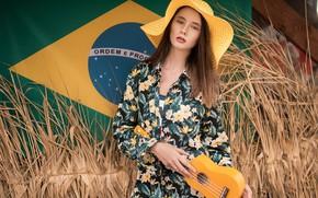 Обои модель, Девушка, шляпа, фигура, платье, флаг, причёска, укулеле, Disha Shemetova, Олег Демьянченко