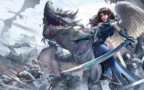 Картинка Девушка, Дракон, Война, Доспехи, Girl, Меч, Воин, Крылья, Fantasy, Dragon, Art, Драконы, Warrior, Фантастика, War, …